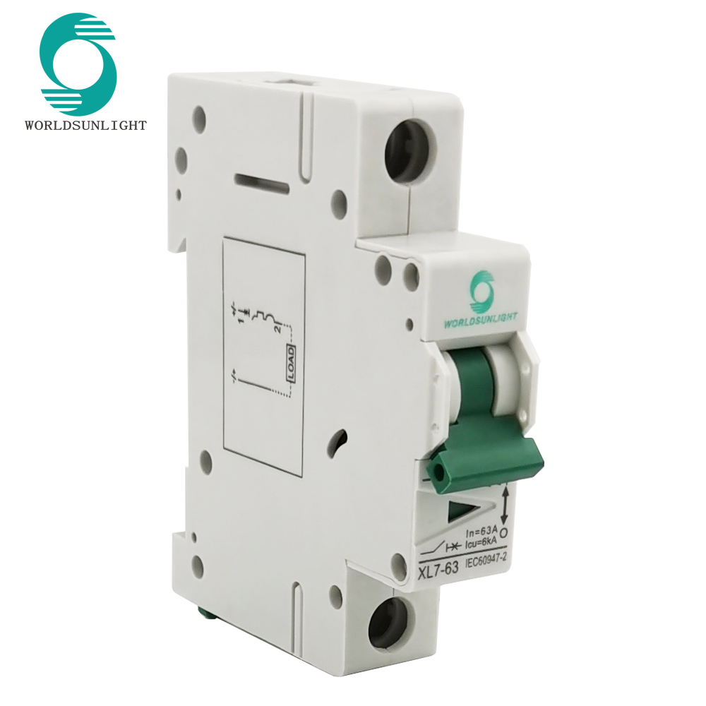 IEC60947 XL7-63 1P 10A 16A 20A 32A 40A 50A 63A Electrical Type 1000V MCB Mini DC Circuit Breaker