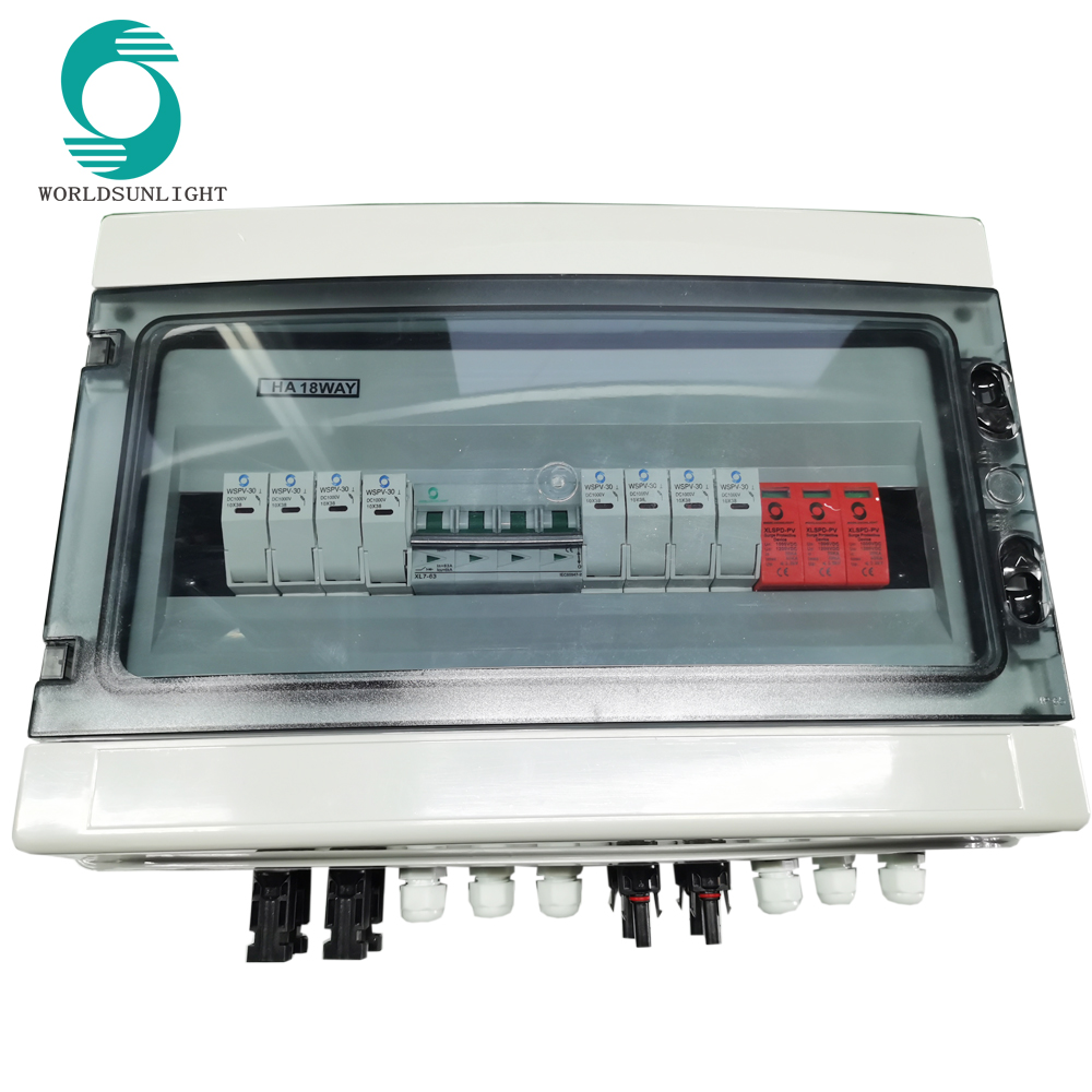 IP65 DC 1000V 4 strings with breaker fuse and surge protector string solar combiner box